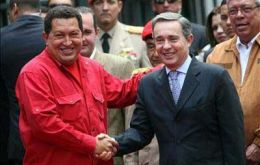 Uribe and Chavez in better times at a regional meeting