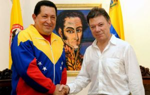 The two leaders met at the home where Liberator Bolivar died