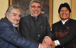 Ptes. Mujica, Lugo and Morales during the meeting