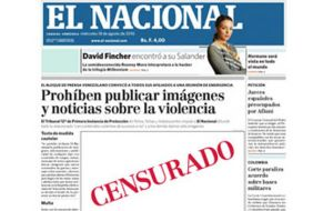 Front page of El Nacional with the censored empty spaces