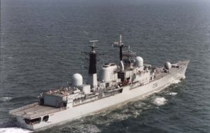 The Type 42 destroyer takes over from HMS Portland
