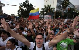 The opposition celebrates in the streets of Caracas