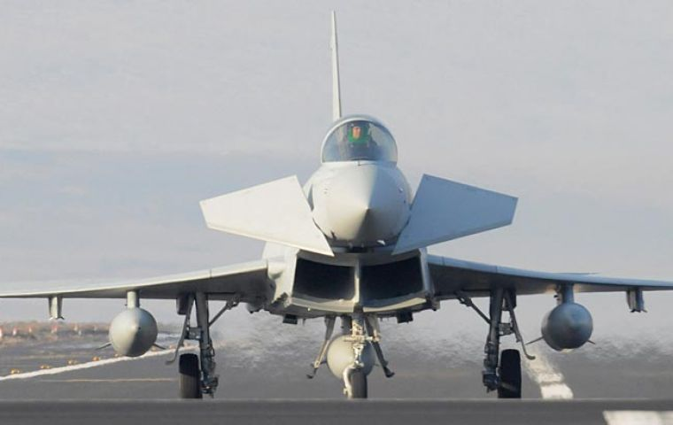 The Typhoon strike aircraft deployed at Mount Pleasant military base