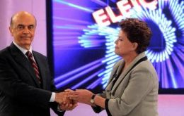 The two candidates shake hands following Friday night&rsquo;s debate   <br />  <br />