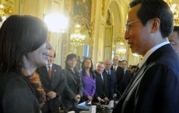 President Cristina Fernandez meets China's Agriculture Minister Han Changfu