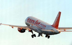 An EasyJet aircraft taking off from John Lennon Airport