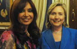 Mrs. Kirchner and Hillary Clinton at Government House in Buenos Aires