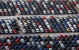 Cars lined up ready for distribution in the domestic and overseas markets
