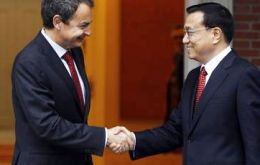 Spanish President Rodriguez Zapatero with Vice-Premier Li Keqiang