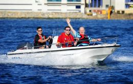 Soldiers enjoyed a speedboat ride around the harbour