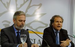 Brazilian  Foreign Minister Antonio Patriota and his counterpart Luis Almagro during a press conference