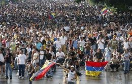 Demonstrators in Caracas on Sunday