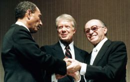 Former president Jimmy Carter brokered the peace agreement signed by Anwar Sadat and Menachem Begin