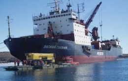 Ice-breaker vowed Vasily Golovnin cruising Antarctic waters