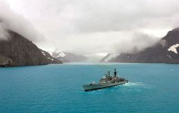 The Fighting G in the turquoise waters of Drygalsky Fjord (LA (Phot) Tel Broughton)