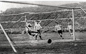 The Uruguayan team celebrates victory in the first World Cup 30 July 1930