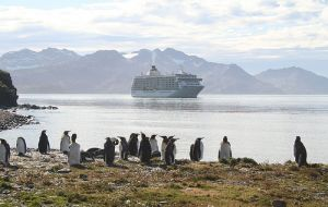 "The large cruise ""The World""; Fishery Patrol ""Pharos SG"" and BAS ""RRS James Clark Ross"" also called at Grytviken"