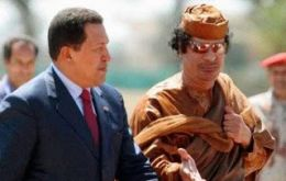 Hugo Chavez and good friend Gaddafi in less dangerous times