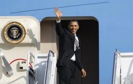 President Obama boarding Air Force One for the trip to Brazil