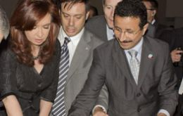 President Cristina Fernández de Kirchner and Sultan Ahmed bin Sulayem, Chairman, DP World during the inauguration