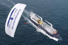 German owned MS Beluga SkySails can display huge paraglider of 600 sq. metres