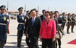 President Rousseff arrived Monday in Beijing for a week long state visit