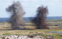 Destruction of some of the thousands of ordnance still found in the Falklands