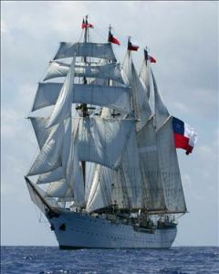 The Navy's training tall ship 'Esmeralda' where Father Woodward was allegedly repeatedly tortured