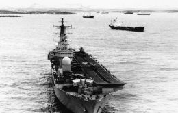 HMS Invincible fully equipped during the Falklands 1982 conflict