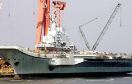 The carrier is being built on the hull of the former Russian Varyag