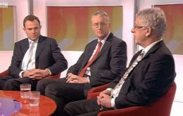 MLA Sawle at the BBC Daily Politics program with MP Nick Herbert (Left) and MP Wedgwood Benn (Centre)