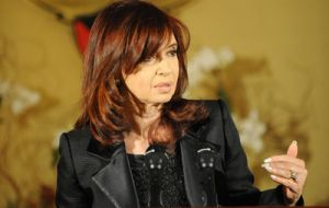 Argentine president Cristina Fernandez missed the statement