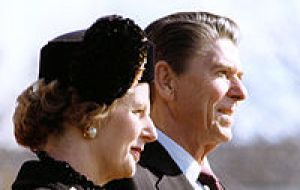 Mrs Thatcher and President Reagan whose formidable joint approach brought down the collapse of the Soviet empire