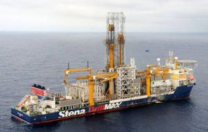 The formidable Bermuda flagged Stena Drillmax contracted for exploratory drilling