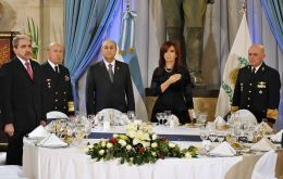 The Argentine president toasting with generals and admirals at the Armed Forces annual dinner