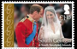 The £1.15 stamp is a portrait of Catherine Middleton as she joins Prince William for the wedding ceremony