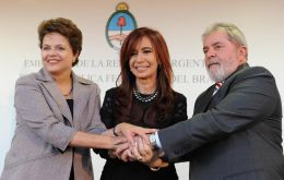 Lady Presidents and former leader Lula da Silva at the opening of the Argentine embassy in Brasilia