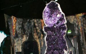 The giant geode originally from Uruguay was shipped to Australia through Brazil in 2007