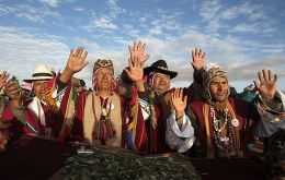 The Aymara people celebrating their ceremonies to the sun in the Bolivian highlands