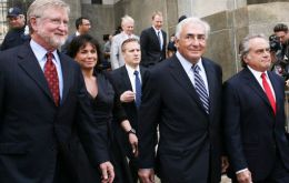 The former IMF chief and lawyers leave the courtroom