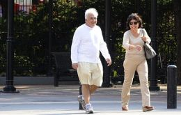 Strauss-Kahn and wife Anne Sinclair go for a walk in their Tribeca neighborhood in New York City (Photo by BIG)
