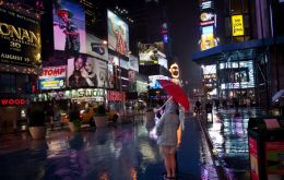 The looming threat of Hurricane Irene did not dissuade some tourists from visiting Manhattan's Times Square on Saturday (AP)