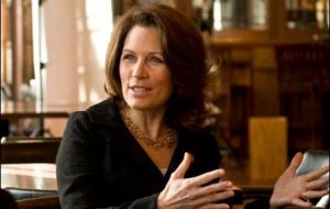 Michele Bachmann, third-term congresswoman for Minnesota tries to convince US veterans she has Thatcher's resolve