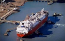 A vessel loaded with LNG waiting to unload in Bahía Blanca