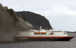 MS Nordlys was carrying 262 people on board when it caught fire