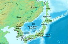 Waters between Korean peninsula and Japan are the Sea of Japan of the East Sea (Wikipedia)
