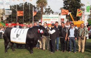 The breeders celebrating with the best Angus bull