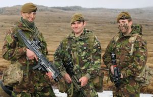 On Patrol From left, Private Dayne Robbo Roberts, Private Dean Heyes and Private Luke Wallis in the Falkland Islands (Photo: The News)