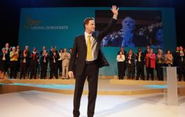 Nick Clegg, Jeremy Brown and Lib-Dem MPs visited the Falklands' stand at the party conference