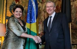 The Brazilian president with Belgium PM Leterme during talks in Brussels